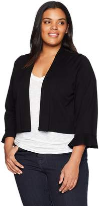 Calvin Klein Women's Plus Size Shrug with lace Back Panel