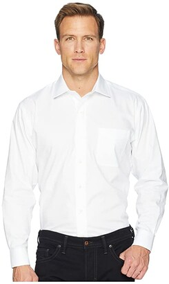 Magna Ready Long Sleeve Magnetically-Infused Solid Pinpoint Dress Shirt- Spread Collar (White) Men's Clothing