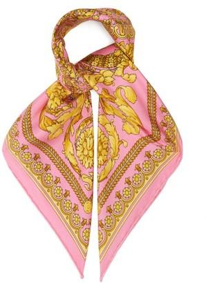 Versace Baroque-print Silk Scarf - Pink Gold