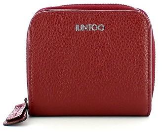Iuntoo Red Leather Armonia Zip Around Small Women's Wallet