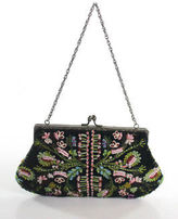 Santi Black Velvet Embroidered Beaded Small Evening Clutch Handbag