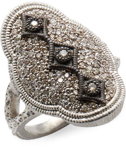 Armenta Silver Scalloped Diamond Cravelli Ring