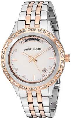 Anne Klein Women's Swarovski Crystal Accented Day/Date Function Two-Tone Bracelet Watch