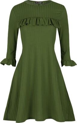 Fashion Star Womens Ruffle Frill Peplum Bell Sleeve Ribbed Long Smock Swing Mini Dress Khaki