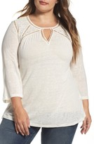 Lucky Brand Plus Size Women's Mixed Lace Peasant Top