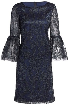 Theia Lace Bell-Sleeve Shift Dress