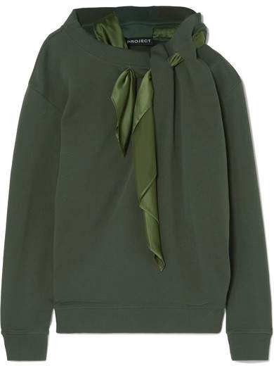 Y/Project Satin-trimmed Cotton-jersey Sweatshirt - Army green