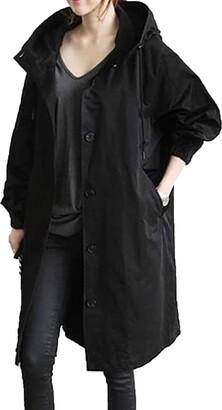 Mllkcao Winter Women's Jacket Coat Jacket Outerwear Ladies Gift for Womens Winter Loose Hooded Wild Elegant Windbreaker Comfortable Coat Outwear Black