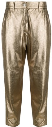 Brunello Cucinelli Metallic-Effect Leather Trousers