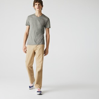 Lacoste Mens V-neck Pinstriped Cotton T-shirt