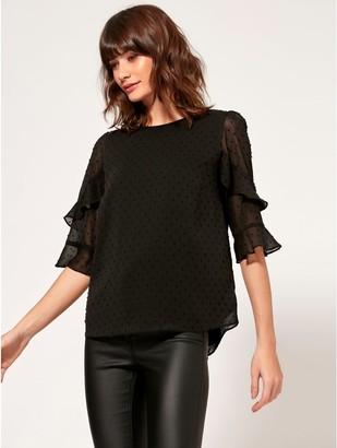M&Co Dobby sheer sleeve top