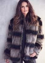 Kaleidoscope Wide Stripe Faux Fur Jacket
