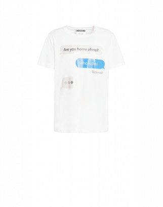 Moschino Chat Jersey T-shirt Man White Size 44 It - (34 Us)