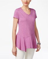 Style&Co. Style & Co Petite Cotton Asymmetrical Flounce Top, Created for Macy's