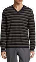Vince Men's Striped V-neck Sweater