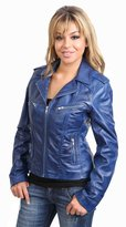 House of Leather Ladies Latest Style Fitted Biker Leather Jacket 9823 Black Red Tan White