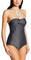 Esprit Women's Striped Swimsuit - Grey -