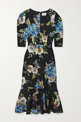 Erdem Ottavia Ruffled Floral-print Ponte Midi Dress - Black