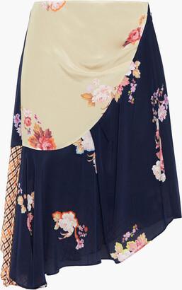 Preen Line Izzy Asymmetric Printed Crepe De Chine Skirt