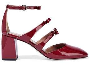 Red(V) Red(v) Bow-embellished Patent-leather Mary Jane Pumps