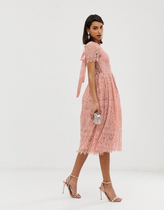 Asos Design DESIGN lace midi with ribbon tie and open back-Pink