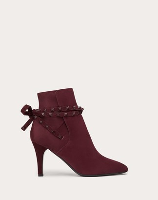 Valentino Rockstud Suede Ankle Boot 85 Mm Women Rubin Lambskin 100% 37