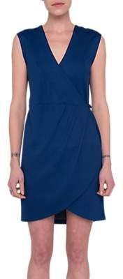 French Connection Lula Ponte Sleeveless Wrap Dress, Blue
