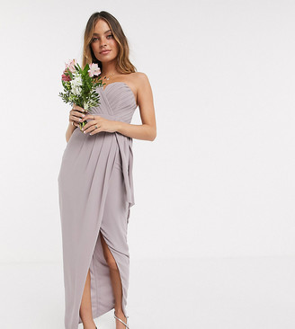 TFNC Petite bridesmaid exclusive bandeau wrap midaxi dress with pleated detail in grey