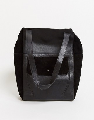 Urban Code Urbancode leather tote bag with suede pocket in black