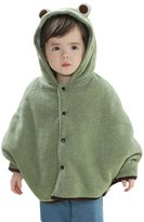 Happy Cherry Baby Kids Cloak Fashion Warm Poncho Frog Hooded Cape Mantle Winter Coat Snowsuit