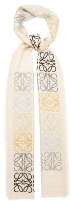 Loewe Anagram-knitted Wool-blend Scarf - Beige