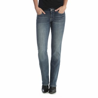 Wrangler Women's Western Mid Rise Stretch Straight Leg Jean - Blue - 9W x 32L