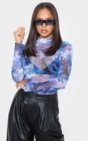 Apparelt Blue Oriental Printed Mesh High Neck Bodysuit