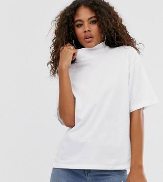 Asos Tall DESIGN Tall high neck short sleeve t-shirt in white