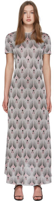 Paco Rabanne Silver Printed Short Sleeve Dress