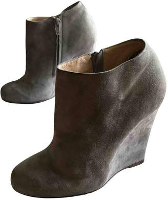 Christian Louboutin \N Grey Suede Ankle boots