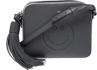 Anya Hindmarch Dark Grey Leather Smiley Crossbody Bag with Small Zip Around Wallet