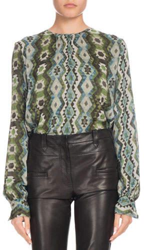 Altuzarra Mezouar Long-Sleeve Printed-Silk High-Low Tunic