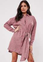 Missguided Burgundy Check Tie Side Shirt Dress