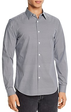 Theory Sylvian Cotton Stretch Printed Regular Fit Button-Down Shirt