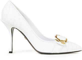 Dolce & Gabbana Buckle-embellished Matelasse Leather Pumps