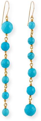 Nest Jewelry Graduated Turquoise-Bead Drop Earrings