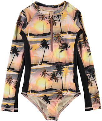 Molo Girl's Necky Printed Long-Sleeve Swimsuit, Size 4-16