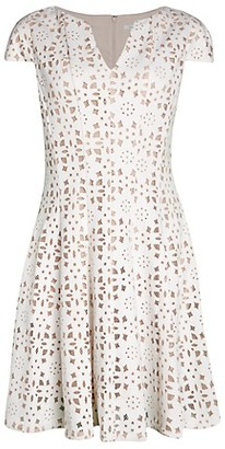 Julia Jordan Cap-Sleeve Eyelet Fit--Flare Dress