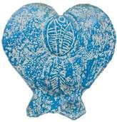 Unique Heart Shaped Ceramic Vase, 'Blue Fossil Heart'