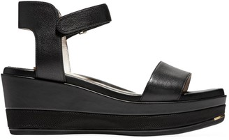 Cole Haan Grand Ambition Leather Platform Wedge Sandals