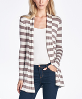Taupe Stripe Elbow Patch Cardigan