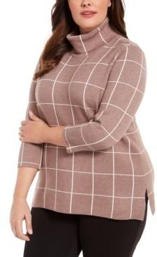Belldini Plus Size Plaid Cowl-Neck Sweater