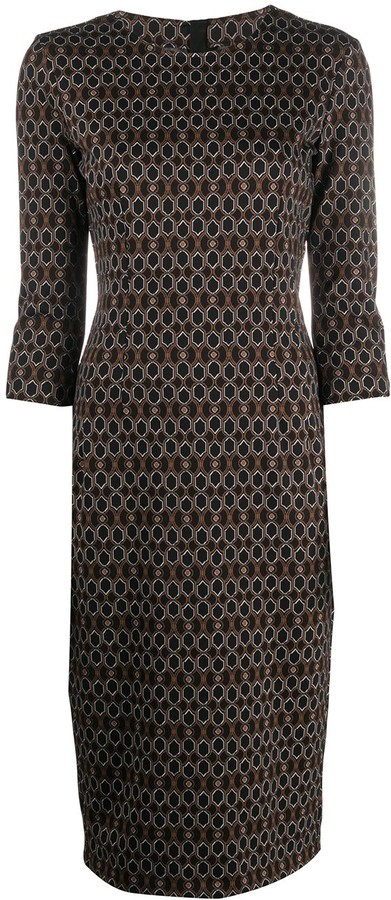 Pinko Geometric Print Pencil Dress