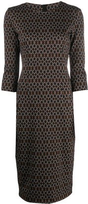 Pinko Geometric Print Pencil Dress